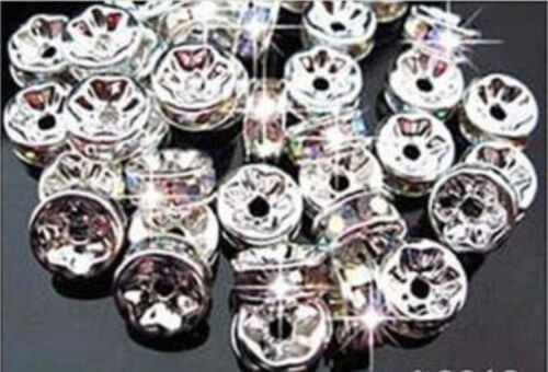 1000PCS 8MM For Rhinestones Rondelle Spacer Beads Crystal Grade AAA+