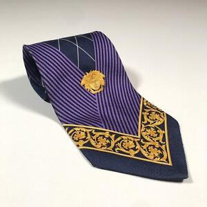 90s-Vintage-GIANNI-VERSACE-VERSUS-Mens-Tie-100-Silk-Made-in-Italy-Medusa