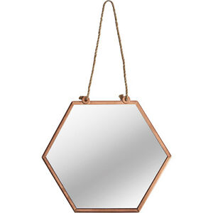 klein hexagonal spiegel vintage kupfer metall rahmen wandbehang schnur schleife ebay. Black Bedroom Furniture Sets. Home Design Ideas
