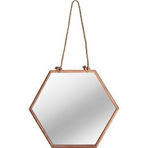 Small Hexagonal Mirror Vintage Copper Metal Frame Wall