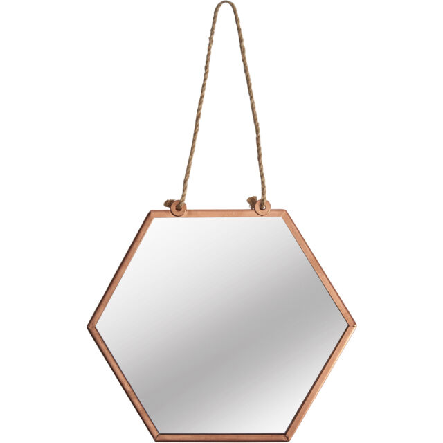 Small Hexagonal Mirror Vintage Copper Metal Frame Wall Hanging ...