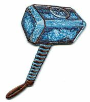 Thor Thor's Hammer Embroidered Iron-on Patch Mjolnir Free ship Marvel P-mvl-6