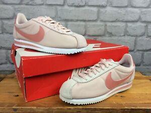 Nike-Donne-Cortez-Nylon-Rosa-in-Pelle-Scamosciata-Scarpe-Da-Ginnastica-Varie-Taglie-RRP-65-T