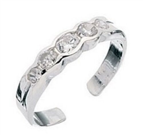 Elements 925 Sterling Silver Ladies Cubic Zirconia Half Eternity Style Toe Ring