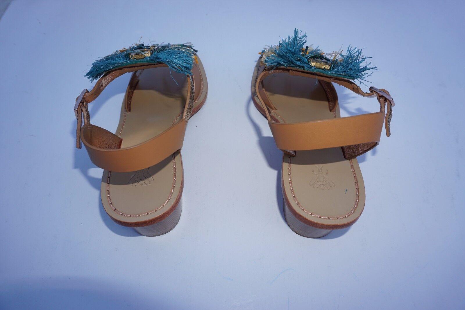 Anthropologie Sanchita Dilochia Dilochia Dilochia Slingback Sandals 39/US 8.5 fringe & beads NWB 5cd680