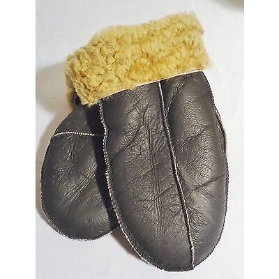 HANDMADE BROWN SHEEPSKIN SHEARLING MITTENS MITTS NICE & WARM REAL LEATHER