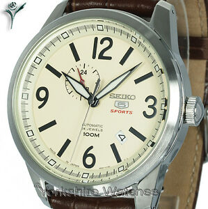 New-SEIKO-5-SPORTS-AUTO-CREAM-FACE-WITH-BROWN-LEATHER-BUCKLE-STRAP-SSA295J1