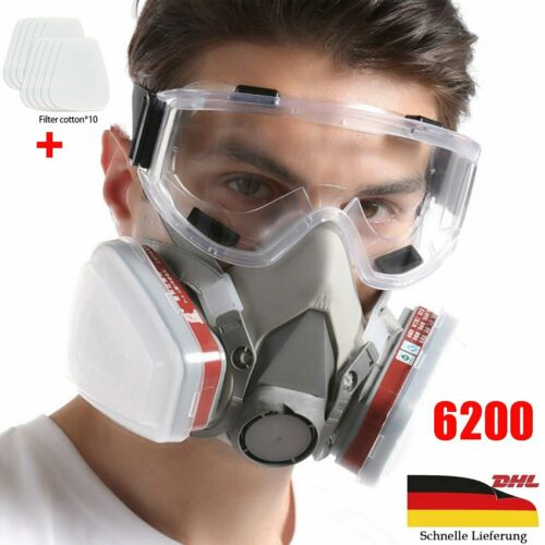 Profi Atemschutz Gasmaske Lackiermaske Atemschutzmaske Halbmaske mit Filtern DE