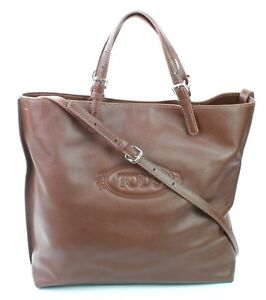 7da3201ef3 Image is loading Tods-Logo-Media-Shopper-Tote-Bag-Brown-Leather-