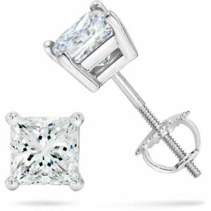 2-ct-White-Sapphire-Princess-Screw-Backs-Stud-Earrings-14k-White-gold-Silver