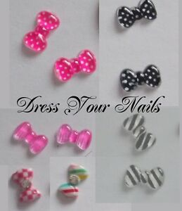 Nail-Art-3d-Resin-Crystal-BOWS-Stripe-Polka-Dot-Gingham-Check-Multi-List