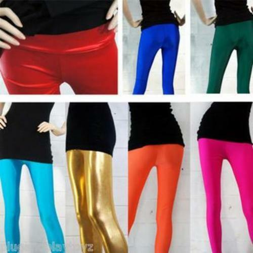 Neon Candy Shiny Bright Fluorescent Metallic Stretch Tight Pants Leggings OS US