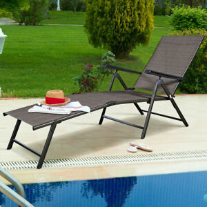 Details About Adjule Pool Chaise Lounge Chair Recliner Textilene Outdoor Patio Furniture