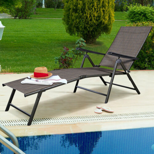Adjustable Pool Chaise Lounge Chair, Patio Furniture Chaise Lounge