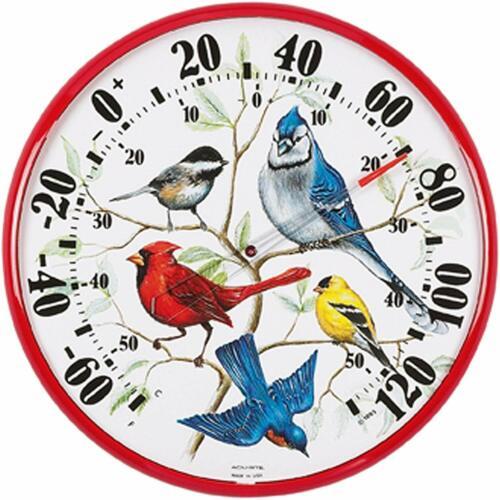 """ACU-RITE SONG WILD BIRD GARDEN YARD INDOOR OUTDOOR THERMOMETER 12/"""" DIAMETER"""