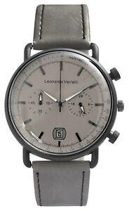 Leonardo-Verrelli-Herrenuhr-Grau-Kunstleder-Analog-Datum-Chrono-Look-X2900207003