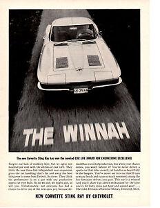 1963 Corvette Sting Ray Split Window Fastback Original Print Ad 8.5 x 11 1 page