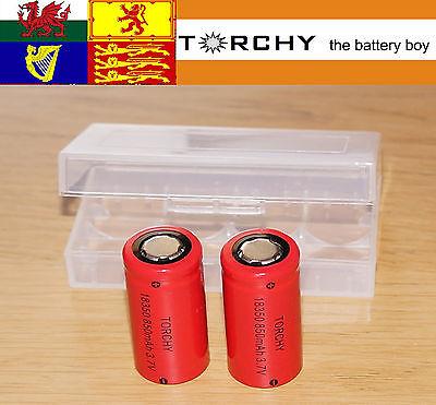 2x Torchy IMR 18350 Flat Top 850mAh  Li-Ion 3.7v Li-Ion batteries + case