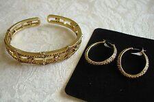 Monet Topaz Crystal Rhinestone Cuff Bracelet Hoop Pierced Earring Set Macys