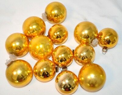 Lot Of 13 Vintage Shiny Brite Glass Christmas Tree Ornaments Gold Balls 2 5 Ebay