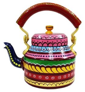 Traditional Indian Tea Kettle Hand Painted Aluminium Colorful