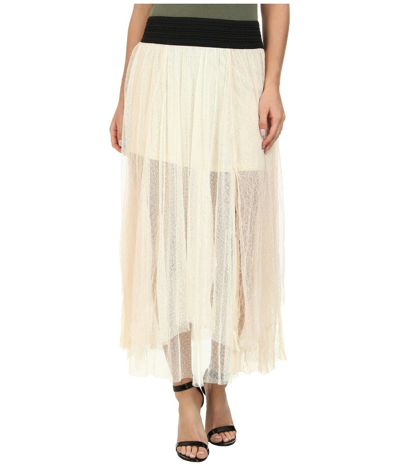 NWT FREE PEOPLE Ivory Lace Sugar Plum Tutu Dotted Mesh Maxi Skirt Elastic Medium