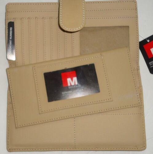 Mundi Big Fat Genuine Leather Checkbook Wallet,Sand