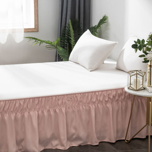 """16/"""" Drop Bed Skirt Elastic Dust Ruffle Easy Fit Wrap Around Soft Queen Bed Gray"""