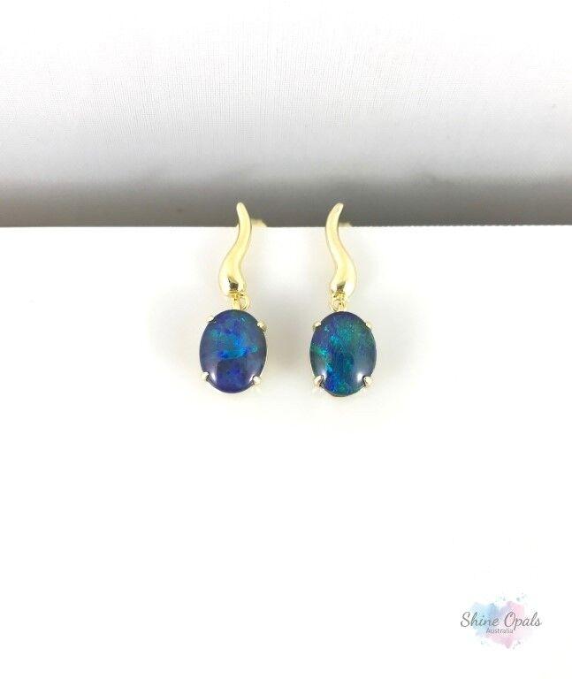 Australian Genuine Opal gold Drop Dangle Earrings 9x7mm Elegant Jewelry, Opals