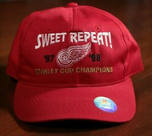 Detroit-Red-Wings-Stanley-Cup-Champions-Hat-Sweet-Repeat-1997-1998-NHL-Hockey