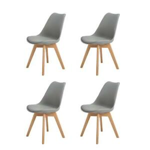 Pleasant Details About 4Pcs Modern Dining Chair With Solid Oak Wood Legs Office Kitchen Chairs Grey Unemploymentrelief Wooden Chair Designs For Living Room Unemploymentrelieforg