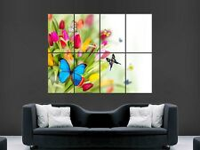 SPRING FLOWERS BUTTERFLIES SUMMER  LARGE WALL ART POSTER PICTURE
