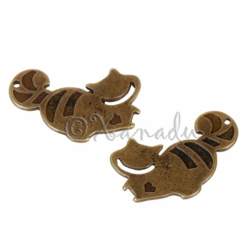 10 Cheshire Cat Alice In Wonderland Antiqued Bronze Pendants C5862-5 20PCs