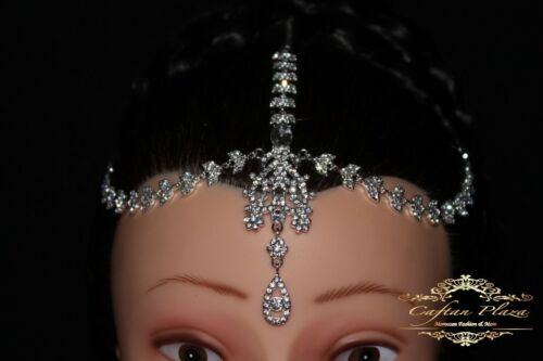 Tikka frente joyas frente cadena cabeza joyas con pedrería plata//blanco boda Kundan