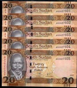 SOUTH SUDAN 20 POUNDS 2016 P NEW UNC LOT 20 PCS