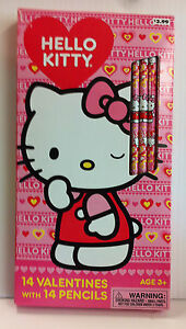 HELLO KITTY 14 Valentines Day Cards 14 Pencils NEW!
