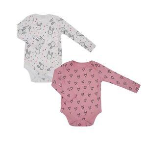 Baby Girl 3 Pack Pink Long Sleeved Bodysuits Vests.