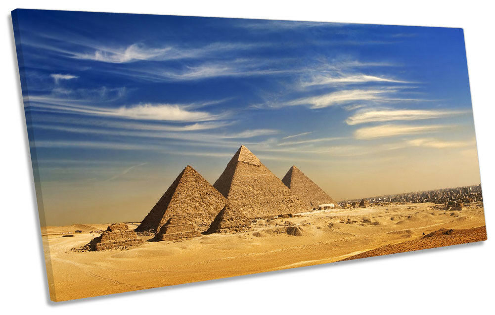Egypt Pyramids Landscape Picture PANORAMIC CANVAS WALL ART Print
