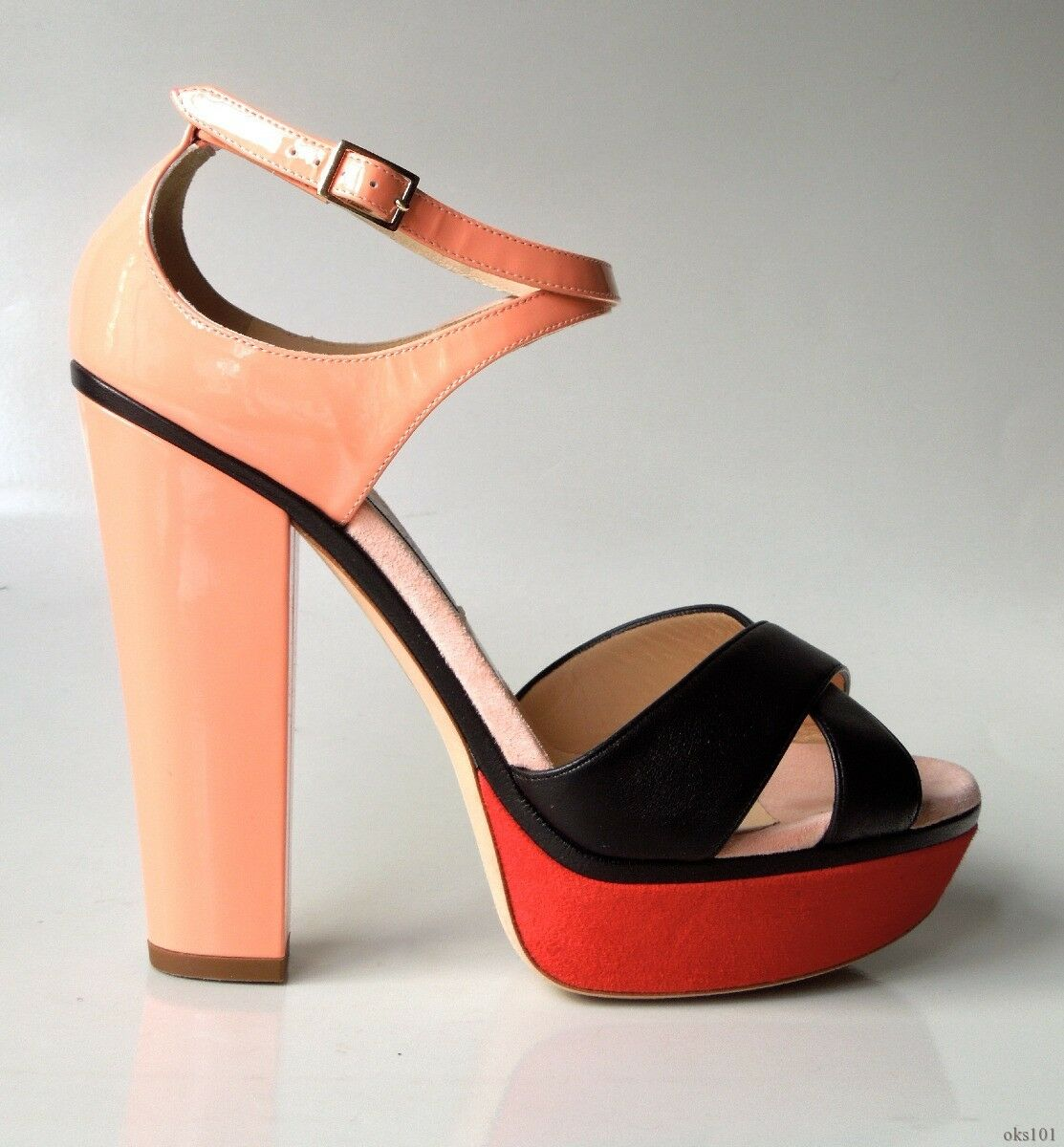 New  995 JIMMY CHOO 'Tiber' peach coral black red X-strap heels shoes 40 10