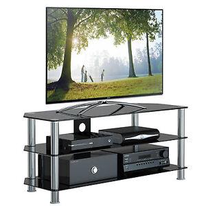 Black-Glass-TV-Stand-Chrome-55-57-58-59-60-61-62-64-65-66-67-68-70-Plasma-LCD-TV