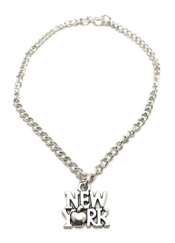 New York Silver Plated Anklet Sterling Silver Chain Link Womens Jewelry handmade