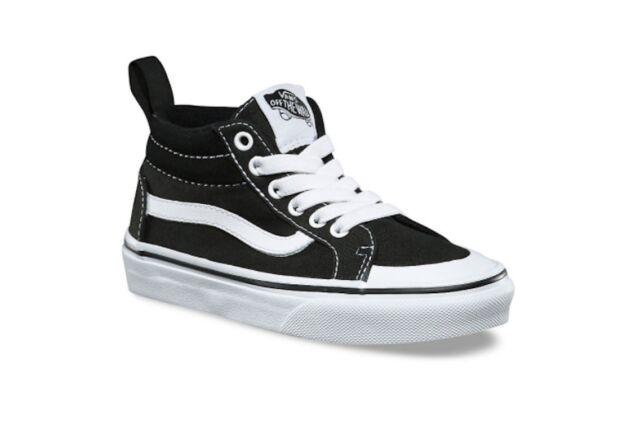 de051fa6f0d3 VANS Racer Mid Canvas Black white Kids Shoes 10.5 for sale online