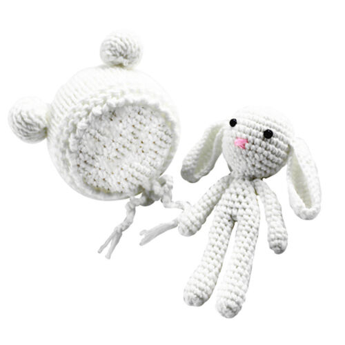 Baby Boy Girl Crochet Knit Hat Beanie Bunny Toy Costume Outfit Photo Prop