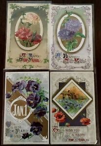Lot-of-4-John-Winsch-Antique-New-Year-Holiday-Postcards-s403