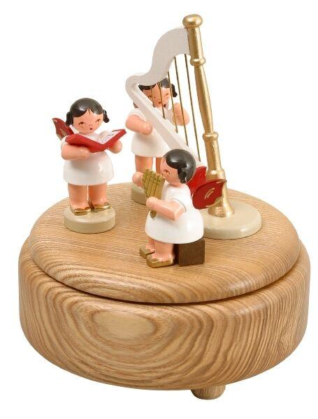 Musikdose nature 3 Ange Couleuré et harpe 15cm Boîte à Musique NEUF seiffen Noël