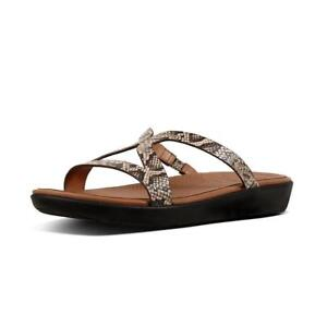 14673337a2ca1 Image is loading NEW-FitFlop-Strata-Slide-Sandal-Snake-Embossed-Leather-