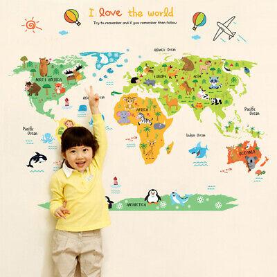 Children Cartoon Animal Educational Wall Sticker World Map Kids Room Decor  US   eBay