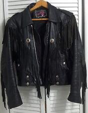 1980 Woman's Black Leather Fringed Motorcycle Jacket