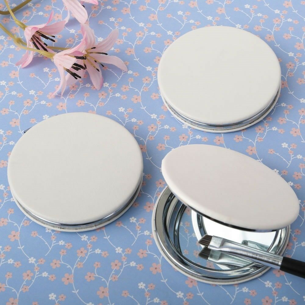 75 Blanc Similicuir Rabattable Compact Miroir Mariage Bridal Shower Party Favors