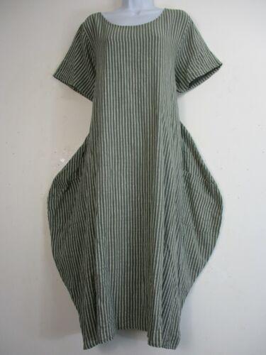 PLUS SIZE LAGENLOOK 80/% COTTON 20/% LINEN STRIPY SUMMER WEIGHT DRESS SIZE 16-20